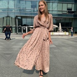 Bandage Boho Dot Print Summer Dress Lantern Sleeve v Neck High Split Maxi Long Dress 2020 New Fashion Chiffon Vestidos
