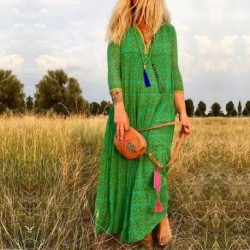 Bellflower Long Sleeve Print Loose Boho Dress Women Autumn 2019 Bohemian Sexy V-neck Draped Maxi Dresses Plus Size