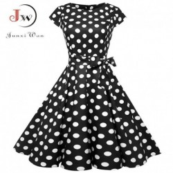 Black White Polka Dot Vintage Dress  Summer Women Floral Print Short Sleeve Retro Robe Rockabilly Dresses Party Jurkjes