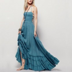 bohemian beach dress summer 2020 new arrival strapless maxi dresses women hippie holiday bandage plus size dress vestidos