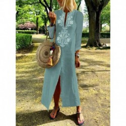 Boho Cotton Linen Loose Long Maxi Dress Kaftan Dresses Summer Women Casual Long Sleeve V-neck