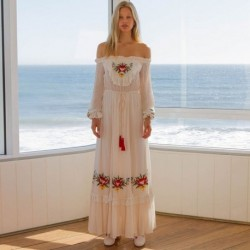 Boho Floral Embroidered White Maxi Dress Autumn Women Tassel Lace Patched Ruffle Trim Belted Long Dress 2020 Vintage Sundresses