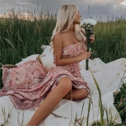 Boho Gypsy Wild Bloom Strappy Dress Floral Print Boho Chic Dresses Ruffle Hem Beach Dress Long Maxi Dresses Women Vestidos