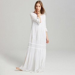 Boho Red White Embroidery Maxi Dress Women Autumn Summer Ruffles Elegant Dresses 2018 Ladies Solid Hippie Beach Long Dress