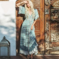Boho Summer Dress Women Wild Cotton Cardigan Slim Short Sleeve V-neck Button Front Floral Printed Maxi Dress Casual Loose Sashes