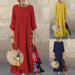 Boho Women Mid Sleeve O-neck Long Maxi Kaftan Dress Ladies Print Straight Loose Dresses Plus Size M-5XL