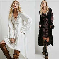 Casual Long Dress Hippie Boho People Asymmetric Maxi Dress Spring Women High Low Vintage Flower Embroidered Cotton Tunic