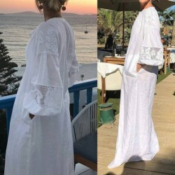 Celmia Long Maxi Shirt Dress Women Bohemian Beach Lace Stitching Dresses 2020 Summer Casual Loose Long Sleeve Party Vestidos 5XL