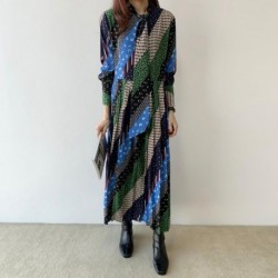 Chic Korean design Designer 2020 Female Spring Summer Vintage Print Lapel Long Sleeve Midi Dress Female Party Dress Robe