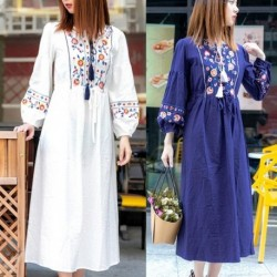 Cotton Floral Embroidered Maxi Dress O-neck Tassel Lantern Sleeve Summer Dresses Vintage Loose Boho Chic Women Dress Clothing