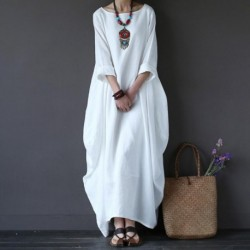 Cotton Linen White Maxi Dress Women Spring Summer Loose Plus Size Big Hem Boho Robe Long Dresses Three-Quarter Sleeve Kaftan 5XL