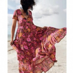 Daisy Boho Chic Maxi Dress 2019 Women Summer Short Sleeve V Neck Sexy Dresses Ladies Floral Print Beach Hippie Party Long Dress