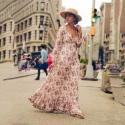 DeRuiLaDy 2019 New Fall Women Floral Ruffle Boho Long Dress V Neck Long Sleeve Dresses Streetwear Casual Maxi Dress vestidos