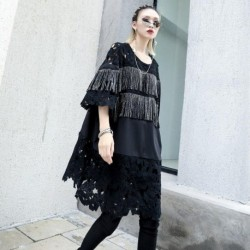 Fashion Personalized Tassel Round Neck Mid-Length Short Sleeve Dress Casual Fashion Black Lace Plus Size Loose Women Dress