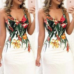 Fashion Printing Dresses Women Summer Floral Sleeveless Strap V neck Boho Dress Casual Long Maxi Evening Party Beach Sundress