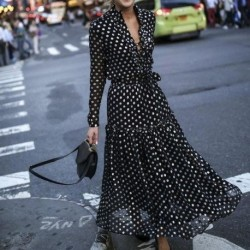 Fashion Sexy Polka Dot Split Summer Dresses Women Deep V-neck Long Sleeve Maxi Dress Ladies Black and White Dress Vestido