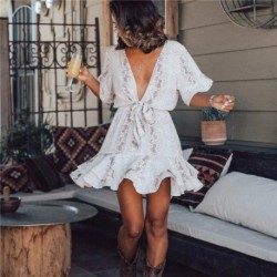 Fashion Summer Women Clothes Ruffles Snake Skin Print Deep V-neck Dress Elegant High Waist Ladies Short Sleeve Mini Dress