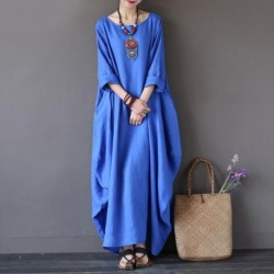 Faylisvow Womens O Neck Long Sleeve Kaftan Maxi Dress Summer Autumn Cotton Linen Gown Robe Dresses Plus Size Large Size Dresses