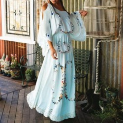 Female Boho Vestidos Flower Multi Embroidery Women Dress Palace style Elegant White Casual Loose Gown Maxi Chic Hippie Dresses