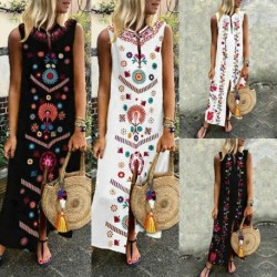 Folk custom Dress New 2019 Women Sleeveless Boho Party Casual Linen Kaftan Maxi Dress Long Dresses