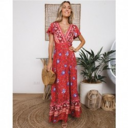Gypsy Morning Glory Maxi Dress Women Vintage Short Sleeve Summer V neck Sexy Dress Ladies Boho Hippie Beach Long Party Dress