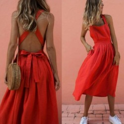 Hirigin Fashion Strap Backless Dress Women Summer Sleeveless Tie Bow Pleated Sundress Casual Beach Holiday Party Red Dresses