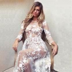 Hirigin Spring Autumn Womens Boho Dress Floral Lace Crochet Maxi Long Sleeve See Through Mesh Sheer Party Beach Sarong Sundress
