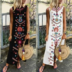 Hirigin Women Sleeveless Dress Print Split Boho Cotton Casual Linen Maxi Ladies Long Dresses