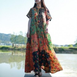 Hisenky Ladies Summer Long Beach Dress Ethnic Bohemian Shirt Dress Vintage Cotton Robe Patchwork Boho Maxi Long Dresses Vestidos