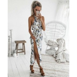 Hot Retro Women Boho Stylish Long Maxi Floral Dresses Summer Party Beach Halter Dress Sexy Split Vestidos Beach Sundress New