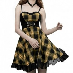 Imily Gothic Sexy Plaid Mini Dress Women Sleeveless Lace-Up High Waist Ruffle Dresses Summer Spaghtti Strapless Bandage Vestido