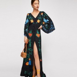 Jastie 2020 Spring Autumn Women Dress Loose Casual Kimono Dresses Floral embroidered Maxi Dress Boho Ruffle Hem Beach Dresses