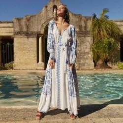 Jastie Bahia Maxi Dress Women Summer Fall Long Sleeve Embroidery Vintage Long Dress 2019 Boho Beach Hippie Loose Vestidos Mujer