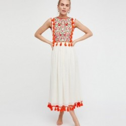 Jastie Boho Embroidered Maxi Dress Hippie Tassel trim Vest Dresses Summer Sleeveless O-Neck Women Dress 2019 Female Vestidos