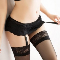 .Hot Sale 4 Colors Sexy Lingeries Underwear Socks Solid Women Tracksuit Thongs Lace Stocking Suspender Dual Layer Garter Belts