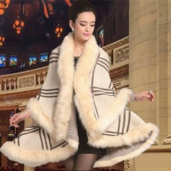 2017 Europe Winter Boutique Women's Plaid Rabbit Fur Cape Jacket Knitted Fur Cardigan Sweater Wool Coat Women Fur Shawl
