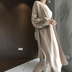 2019 autumn and winter new cashmere cardigan women loose wild long paragraph over the knee ladies sweater coat sweater