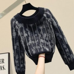 2019 Autumn Winter Pullvoer Top  Womens Jacquard Slash Neck Knit Sweater Thickened  Loose Outer Wear Knit Jacket Female Sweaters