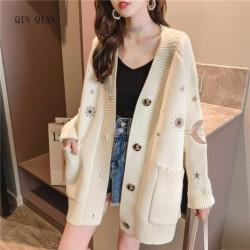 2019 Women Winter Sweater Knitting Cardigans V neck Stars Moon Embroidery Long Sweater Jacket Pink Christmas Cardigans