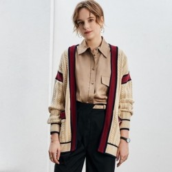 2020  Autumn Winter Women Oversized Knitted Cardigan Coat Cute V neck Thick Warm Twist Loose Sweater Casual Jackets Knitwear