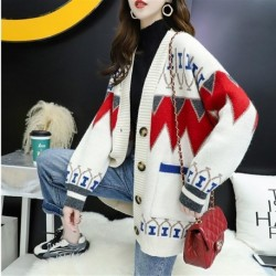 2020 Autumn and Winter Long Cardigans Vintage Print V Neck Women Sweaters Singel Breasted Autumn Winter Warm Sueter Mujer Korean