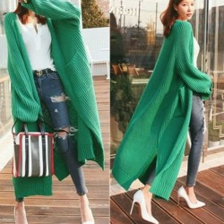 2020 autumn and winter new lazy wind loose cardigan sweater women mid-length thick woolen over the knee thick knitted jacket