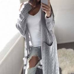 2020 Autumn Long Cardigan Women Winter Knitted Cardigan Female Long Sleeve Long Sweater Thick Warm Cardigan For Women