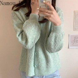 2020 Autumn Sweater Women Cardigan Long Sleeve Korean Style Elegant Winter Clothes Kardigan Warm Thick Knitted Ladies Coat
