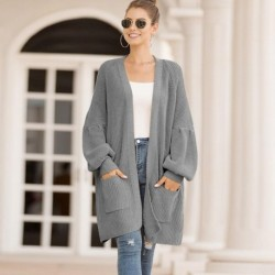 2020 Autumn Winter Long Cardigan Women Knitted Cardigan Female Thick knit cardigan Sweater Female Warm Loose Long Sweater Ladies