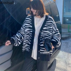 2020 Autumn Winter Mohair Striped Korean Knitted Cardigans Sweaters Women Long Sleeve V-neck Single-breasted Loose Fashion Tops