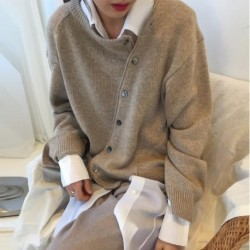 2020 Fall Sweater Cardigan Woman Cashmere Sweaters Women Clothes Korean O-Neck Cropped Winter Long Sleeve Kumper oversized Wool
