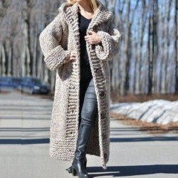 2020 Fall Winter Hooded Oversized Plus Size Sweaters Thick Warm Cardigan Women Knitted Coats Loose Long Overcoats Knitwear