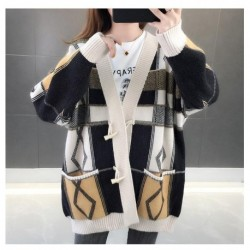 2020 female knitted autumn and winter new lazy knitted cardigan casual contrast loose sweater women's clothing