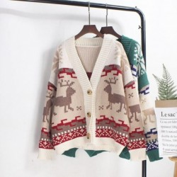 2020 Korean Women Cardigan V Neck Thick Oversized Knitted Deer Christmas Sweater Coat Korean Style Winter Jacket